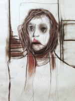 The empty self never left the cage or No.1. 42 x 59,4. Dry pastel and aquarelle on paper.