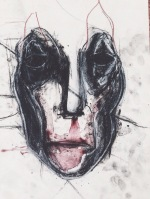 Roughly made mask or 'Bon soir, beau masque'. Dimensions unknown. Watercolour and dry pastel on paper.