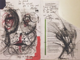 I, a catalog. Dimensions unknown. Ink, charcoal, aquarelle and nail polish on museum catalog (modernamuseet)